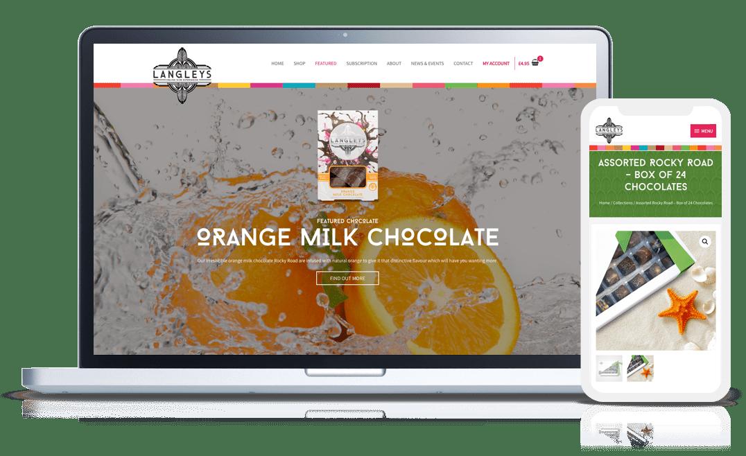 ecommerce website work examples - langleys rocky road