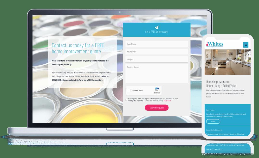 website design example whites decorating