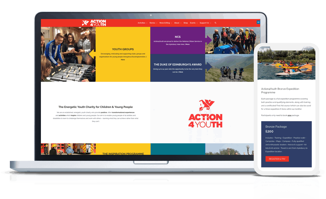 ecommerce web design for charity website