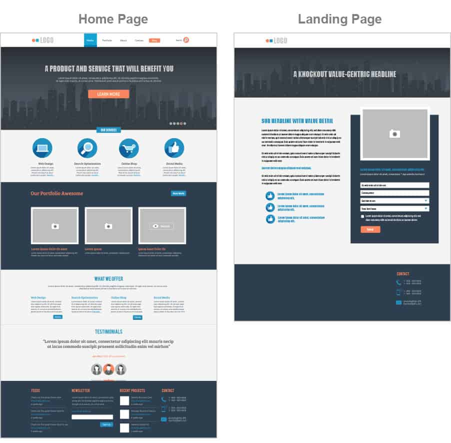 difference between home page and a landing page