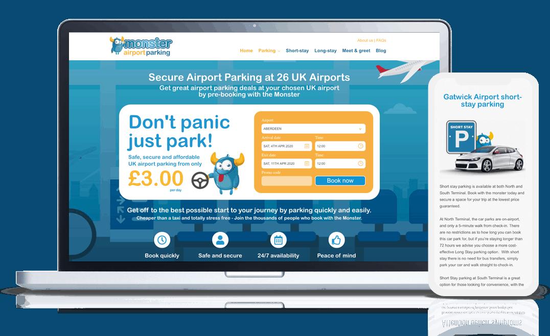 web development airport parking website